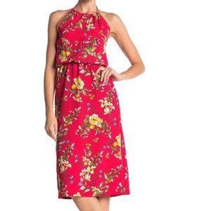 Velvet Torch Red Halter Print Midi Dress